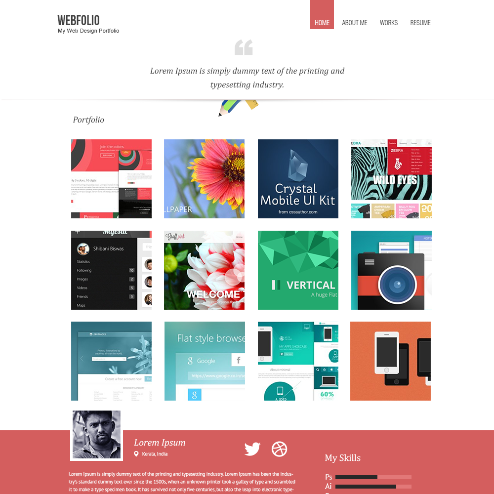 Webfolio is minimal psd portfolio template to showcase your free psd portfolio and resume templates 2015 colorlib the best psd portfolio template hand picked list of the best templates around the web yelopaper Image collections