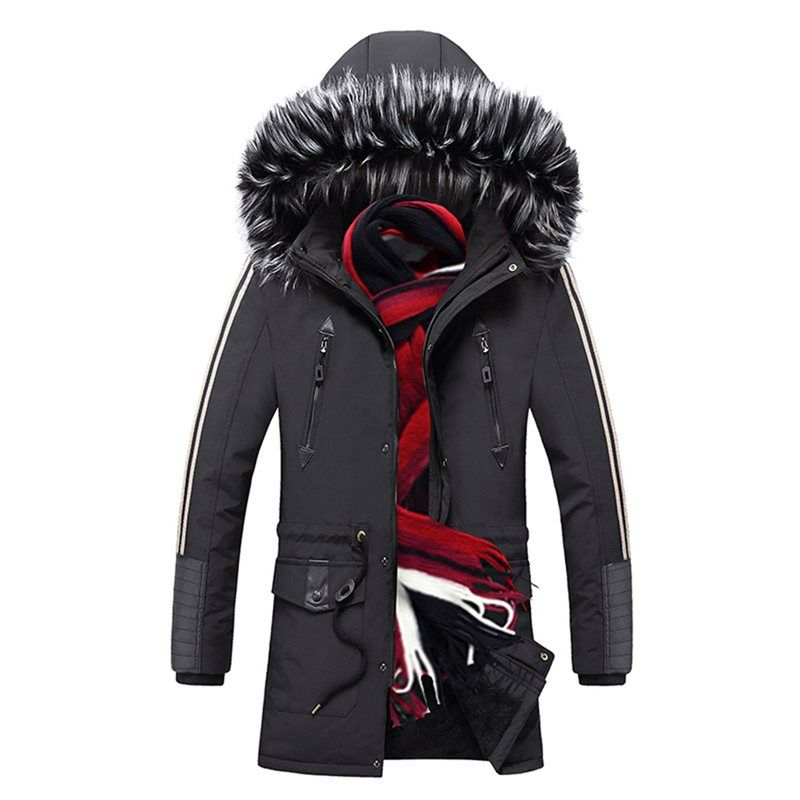 Men Long Medium Cotton Clothing Warm Thicken Jacket Locomotive Punk Gothic Casual Plus Size Casual Goth Hooded Coat 2019 Winter #casualgoth
