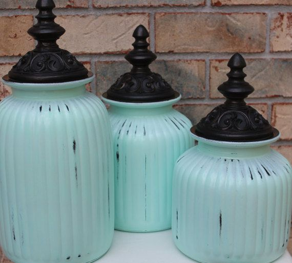 How Pretty Are These Robin Egg Blue Canisters They Painted Gl In 3 Diffe Sizes Being Sold Individually The Tops