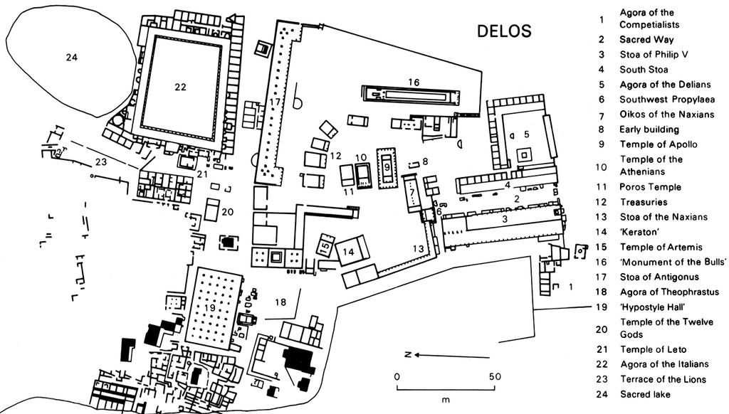 urban planning  plan of archeological site of delos  7 th
