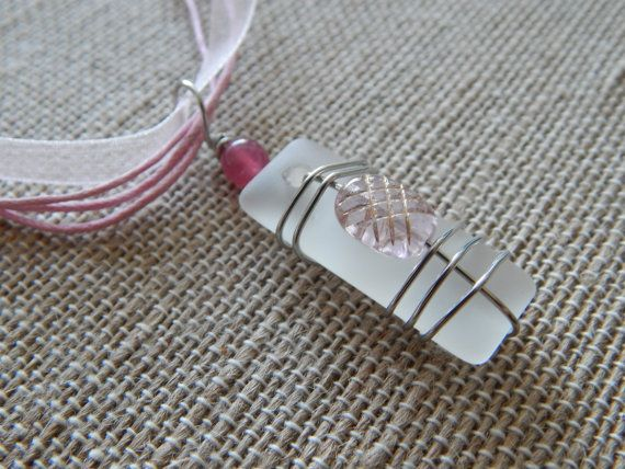 wire wrapped recycled glass pendant. Wire Wrapped Glass Pendant With Pink Beads, Recycled Necklace, Handmade Jewelry For Her, Gift Idea H