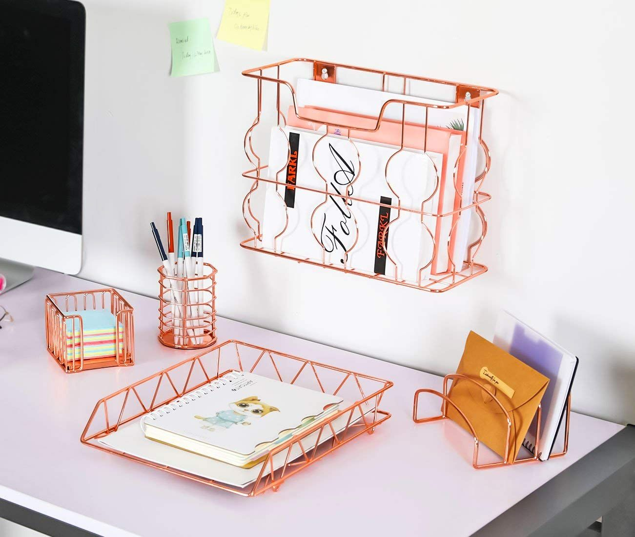 Pag Rose Gold Office Supplies 5 In 1 Metal Desk Organizer Set Hanging File Organizer File Tray Le Desk Organizer Set Gold Office Supplies Desk Organization