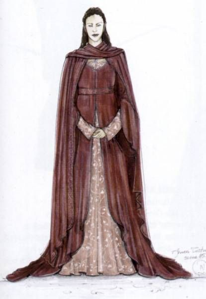 """Concept art for Arwen in the silk-velvet Rose Gown by Ngila Dickson from """"Lord of the Rings: Fellowship of the Ring"""".  While the costume was produced for the film, it was ultimately cut from the final edit; Arwen would have worn it while meeting Frodo in person for a proper introduction after his convalescence following his stabbing by the Witch-king."""