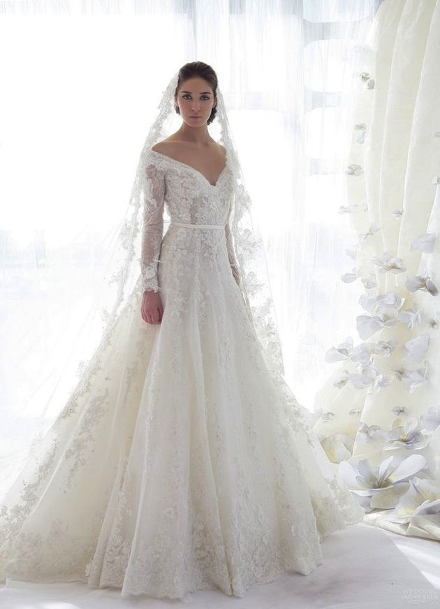 I Pretty Much Want This Exact Dress For Walking Down The Isle At My Grandpas Back Yard Lol 30 Gorgeous Lace Sleeve Wedding Dresses