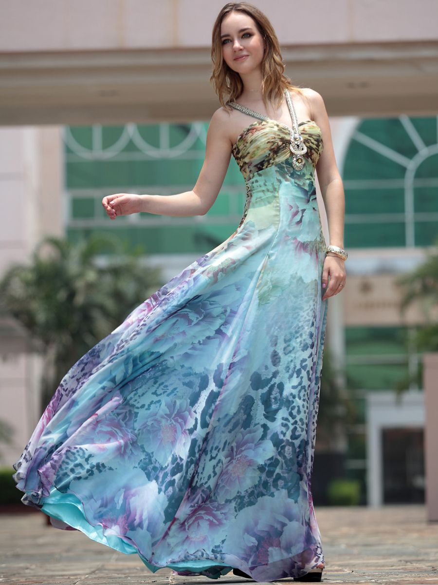 Allover printed flowing long prom dress features beaded v neck