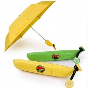 This umbrella folds down into a banana