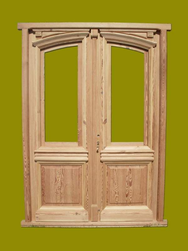 Puerta de frente doble hoja en madera de pinotea con for Puertas dobles de madera