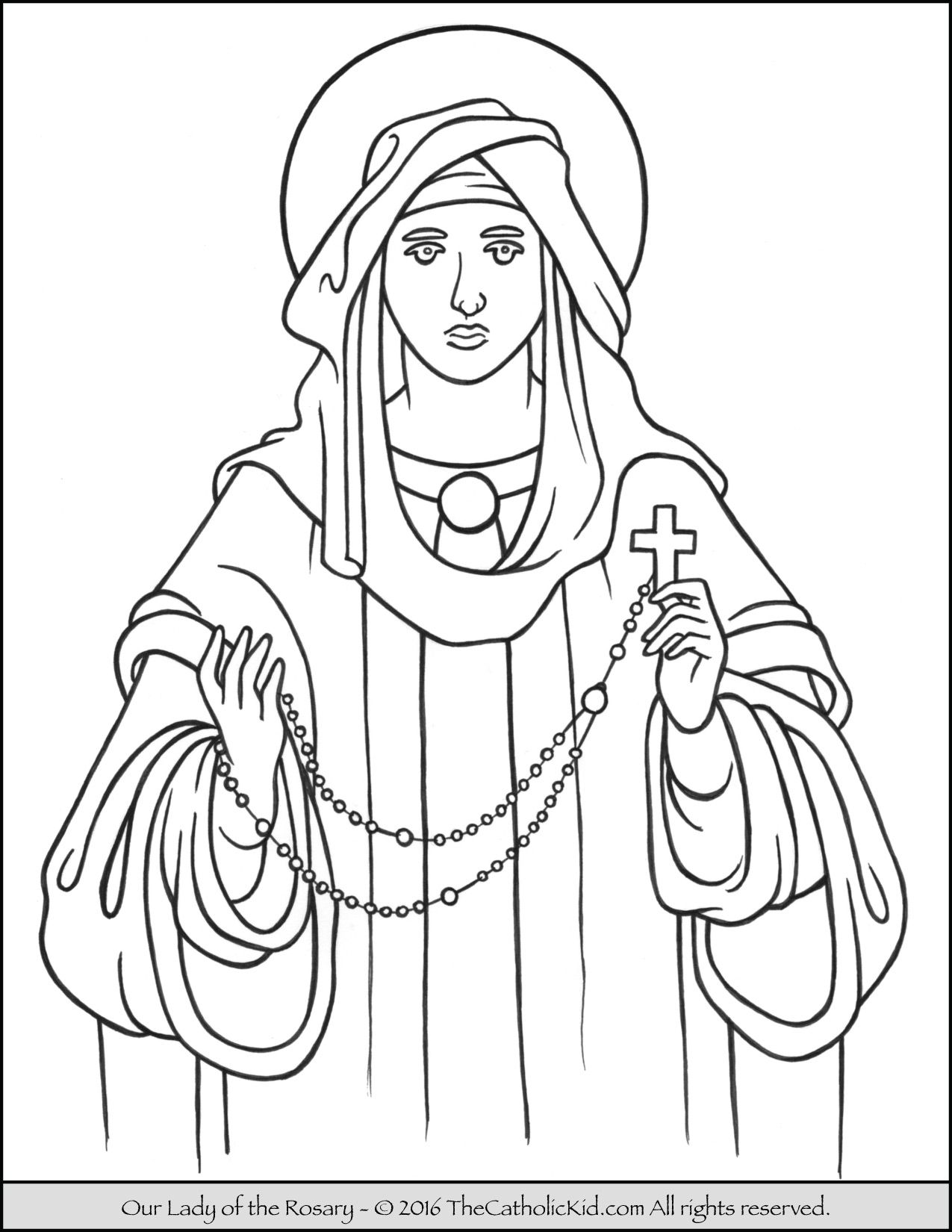 Our Lady Of The Rosary Coloring Page Thecatholickid Com