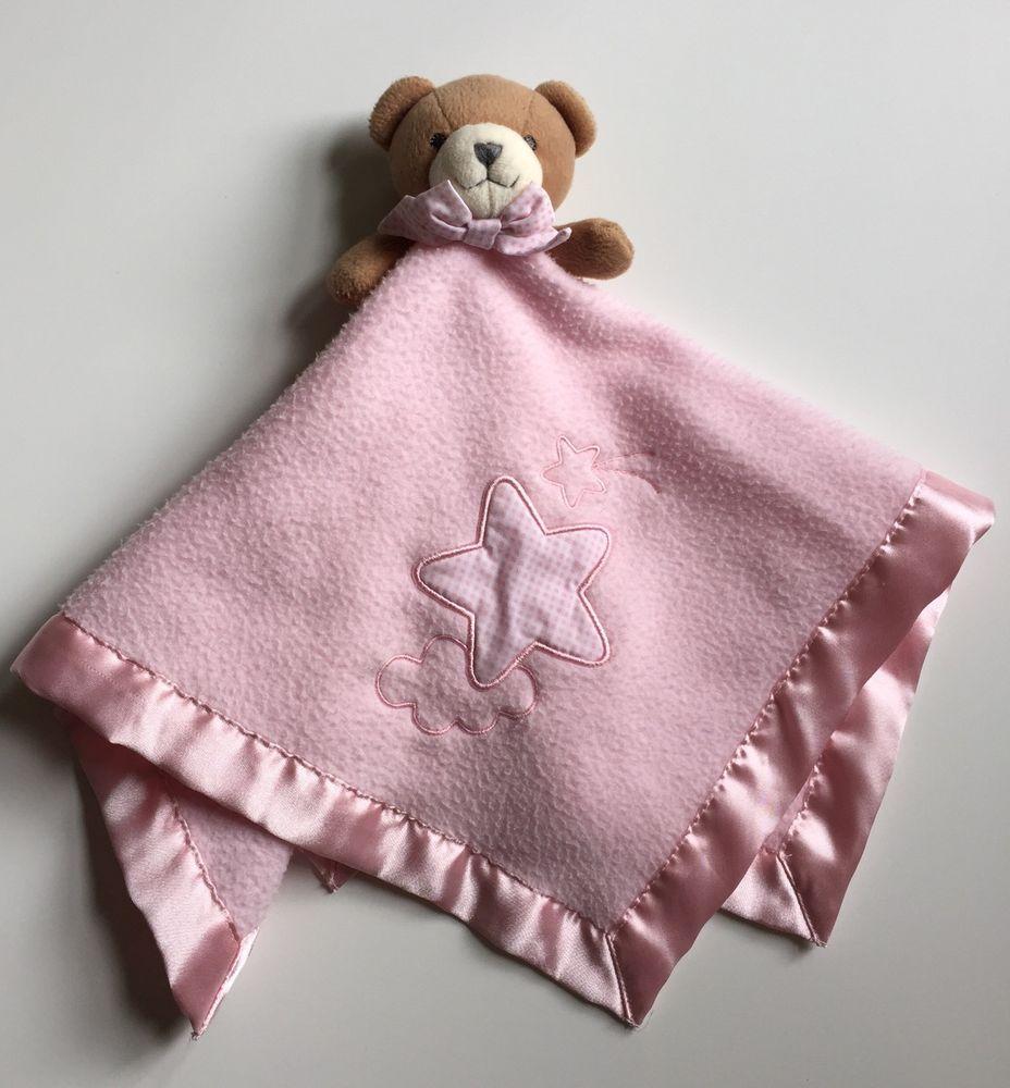Bright Future Security Blanket Pink Fleece Stars Brown