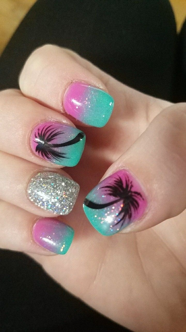 Palm Tree Nails Beach Nail Designs Cute Summer Nail Designs Kids Nail Designs