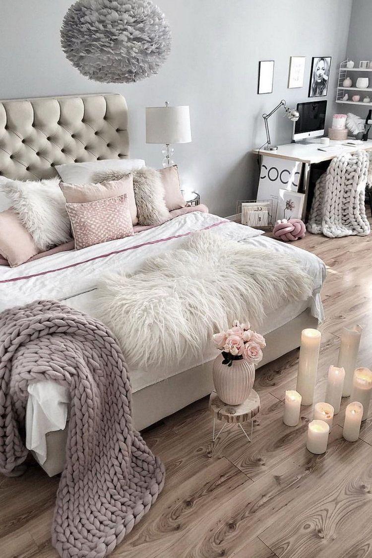 51 Cozy Grey Bedroom Designs With Upholstered Tufted Headboard T Bedroom Decor Home Decor Bedroom Interior Design Bedroom Teenage