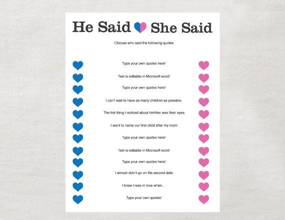instant he said she said game instant download for bridal shower baby shower bachelorette party or engagement party