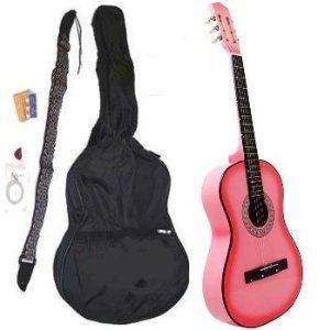 Beginner 38 Pink Acoustic Guitar Set With Gig Bag And Accessories Cliuck Pic For More Info Acoustic Guitar Guitar Best Acoustic Guitar