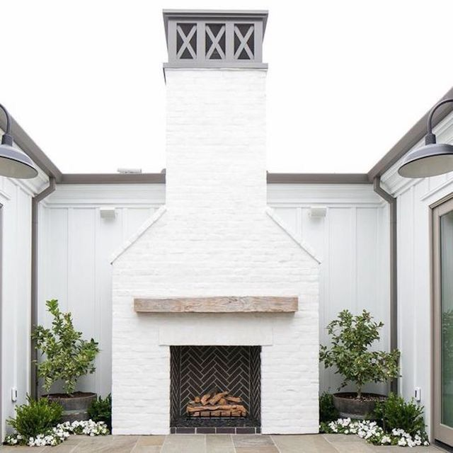 Pin By Designed W Carla Aston On Exterior Outdoor Fireplace Exterior Fireplace White Brick Fireplace