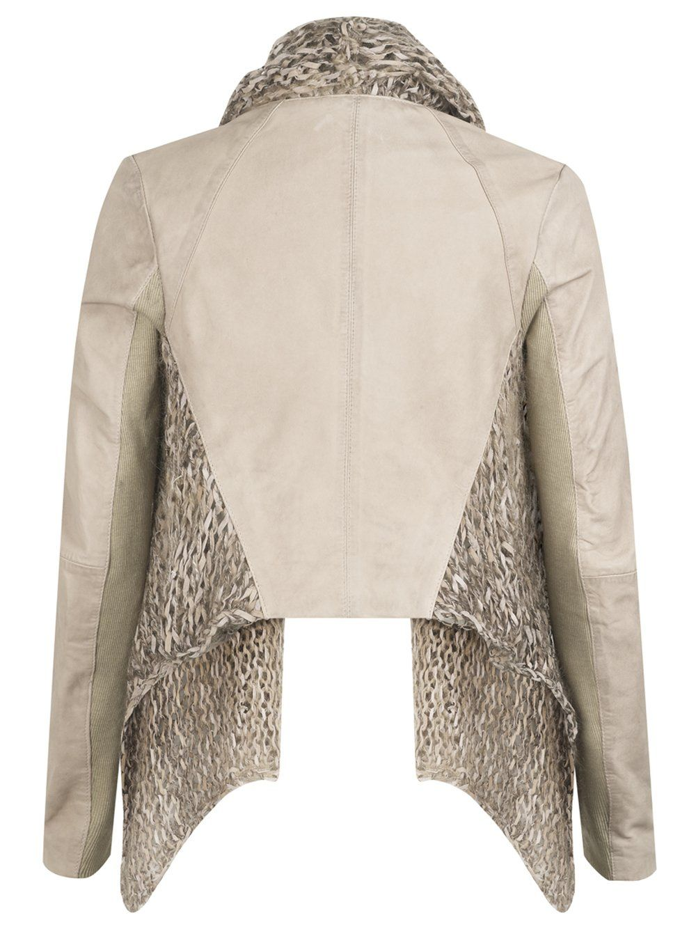 Muubaa Galatti Knitted Leather Waterfall Jacket in Beige Stone