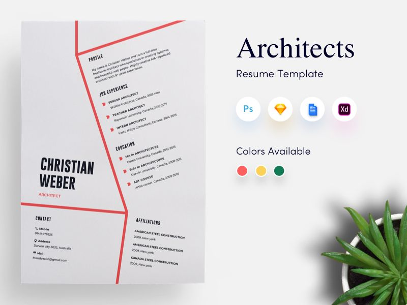 Architects CV Resume Template By Getresumeco