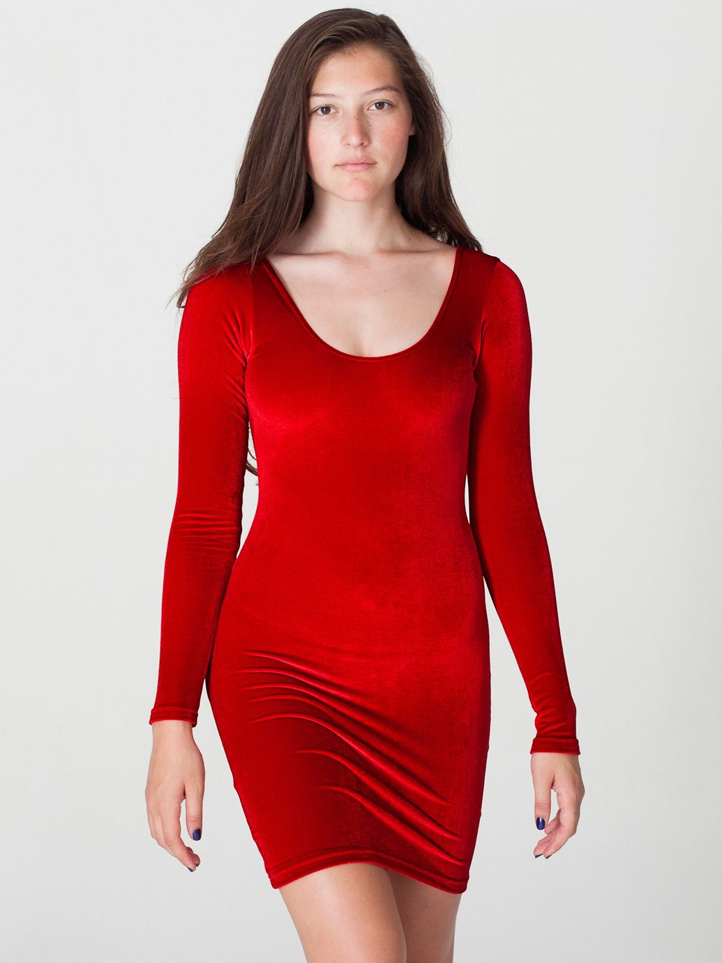 Velvet long sleeve mini dress in bloody red by americanapparel