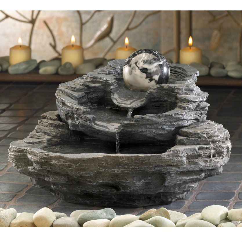 Spinning Orb Layered Rock Indoor Small Zen Tabletop Water Fountain