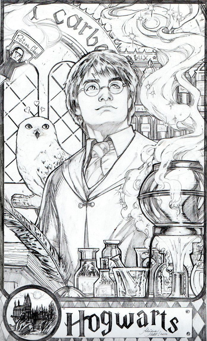 Adrianamelo S Deviantart Gallery Harry Potter Sketch Harry Potter Coloring Book Harry Potter Coloring Pages