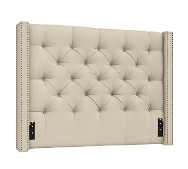 Harper Upholstered Low Tufted California King Low Headboard, Performance  Canvas Sand