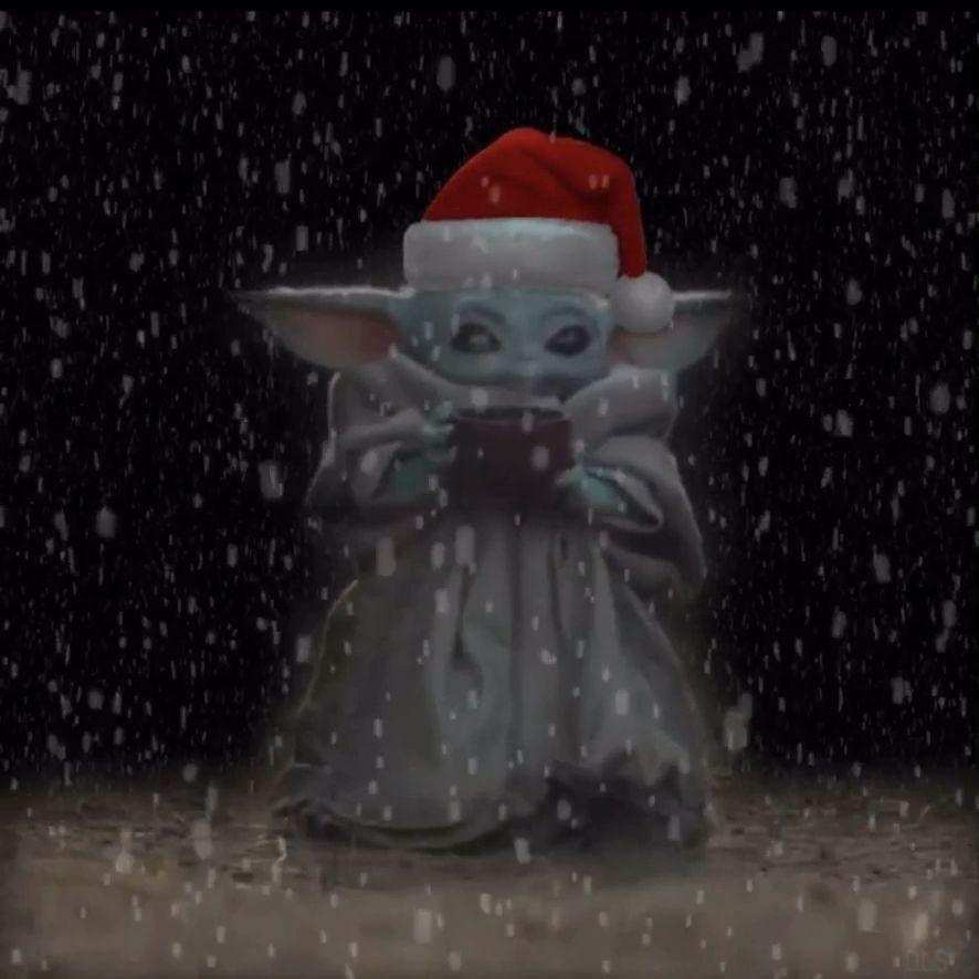 Baby Yoda celebrating Christmas
