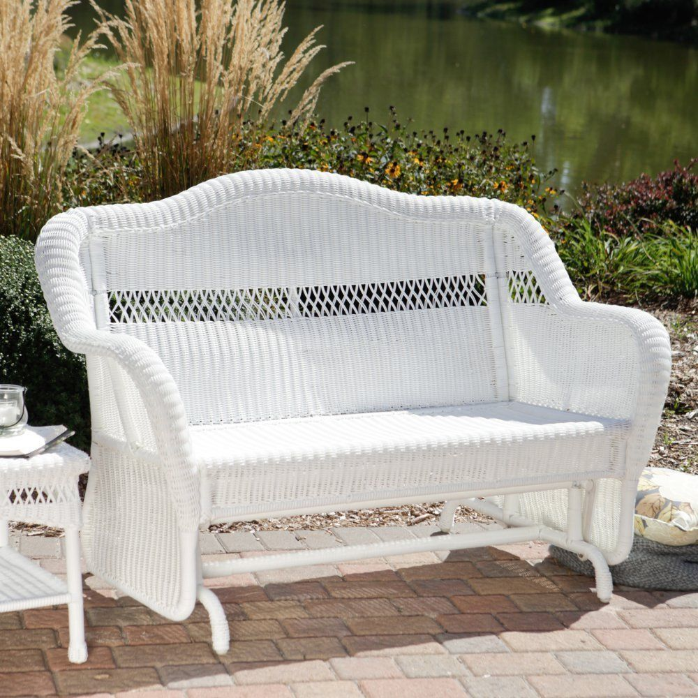Patio Glider Outdoor South Bay White Resin Wicker Loveseat Settee Furniture Homeimprovements