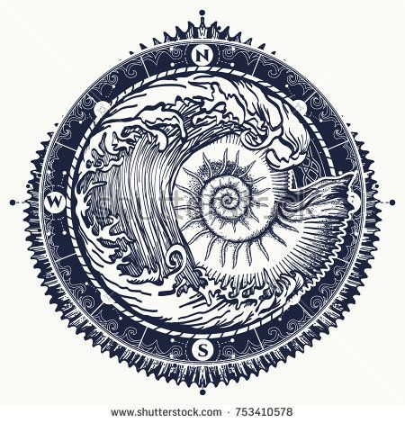 Big Wave And Sea Shell Tattoo And T Shirt Design Symbol Of