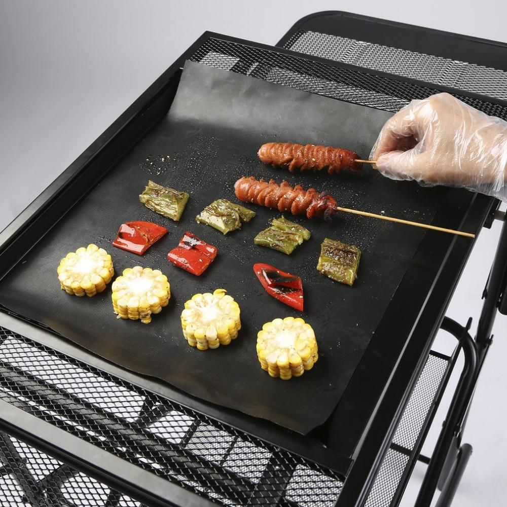2 Pcs Reusable Non Stick Bbq Grill Mat Pad Baking Sheet