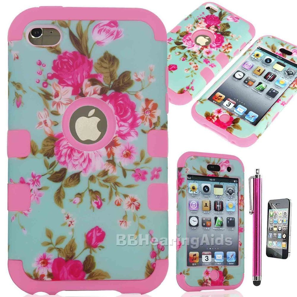 Deluxe 3piece Flowers Hard Protect Case Cover Skin For iPod Touch 4 4G 4th Gen #UnbrandedGeneric