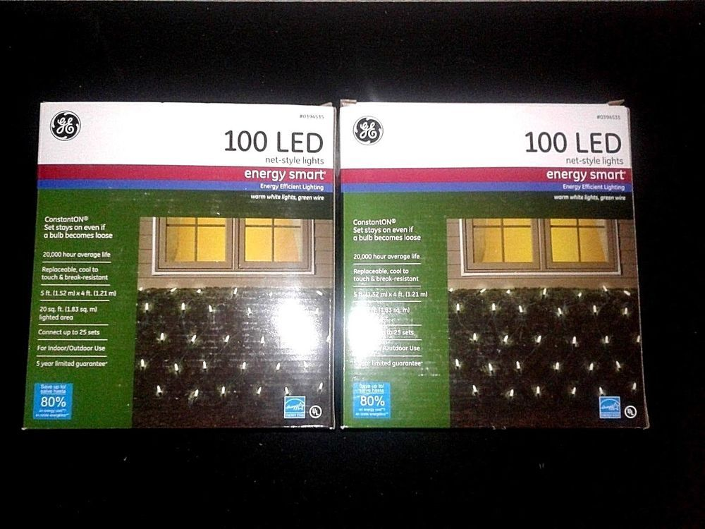Lot Of 2 Ge 100 Count Net Lights Led Warm White Lights 0394535 Energy Smart Ge Lights Warm White Led