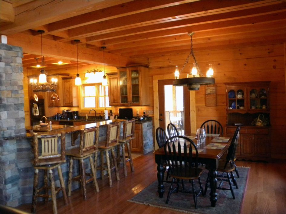 log home dining room | Log Cabin Style Dining Table with Black ...