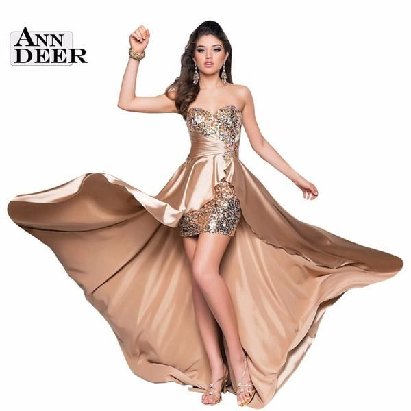D104 Hot Sale Sexy Hi Lo Sweetheart Satin Beading Prom Dresses 2016 Vestido De Festa 6 Colors