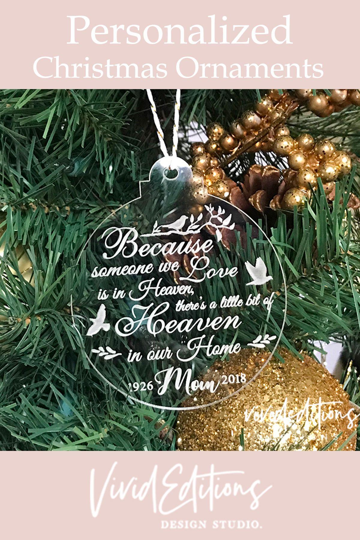heart Personalised engraved acrylic christmas tree decoration xmas memory