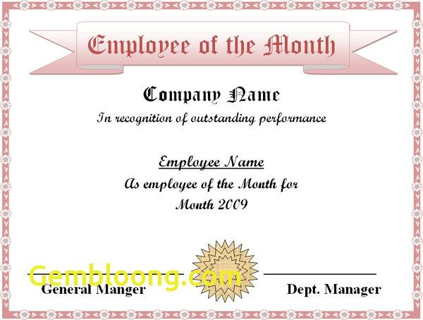 Employee Of The Month Certificate Template Free Employee Of The Month Certificate Template Excel Xlts  Diy & Craft .