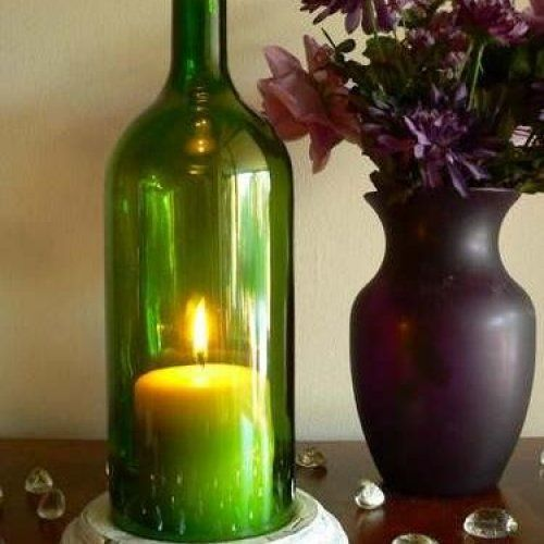 Use a wine bottle and LED candle for easy decorating!