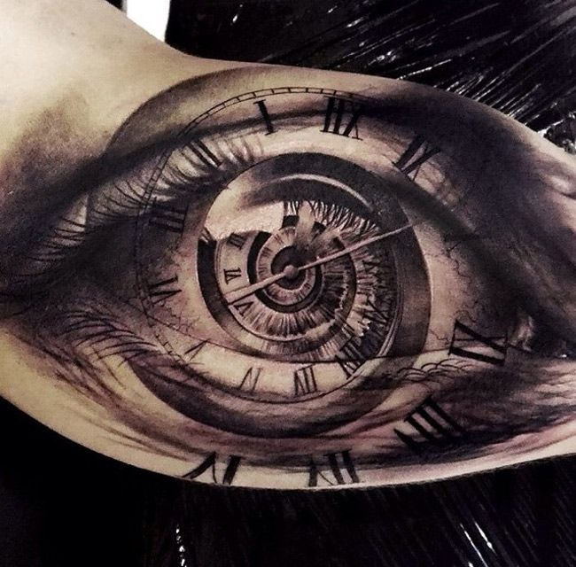 Realistic Eye With A Clock Face Spiraling Into The Middle This Piece Was Created By Oscar Akermo A Tattoo A Inner Arm Tattoos Incredible Tattoos Time Tattoos