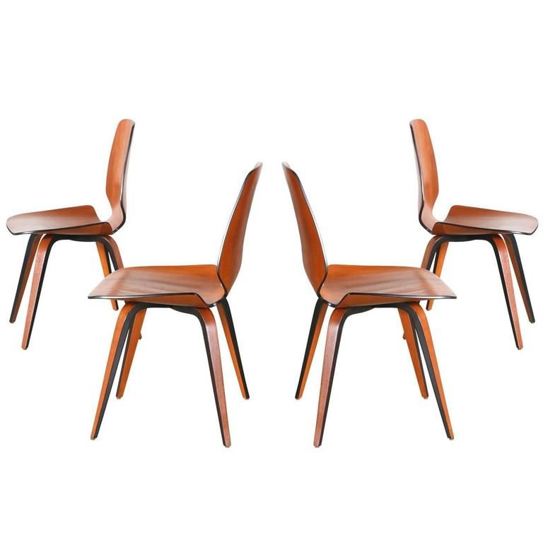 norman cherner molded teak plywood dining chairs for plycraft
