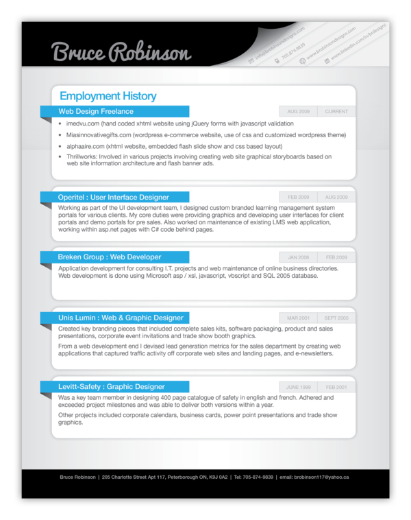Creative Resume By Bruce Robinson Via Behance Resume Example