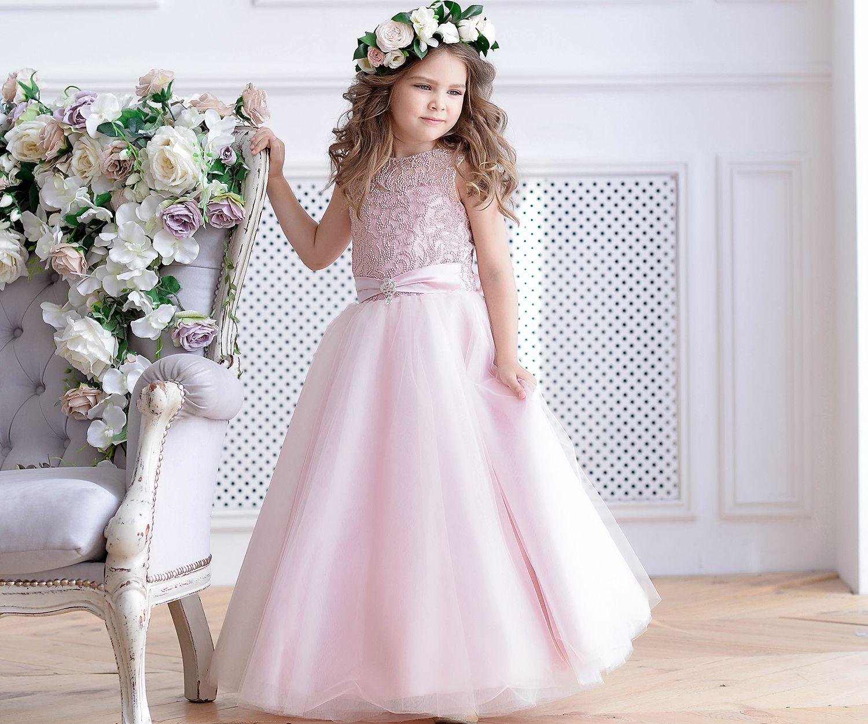 Blush Flower Girl Dress Junior Bridesmaid Dress Pink Lace Etsy In 2020 Blush Flower Girl Dresses Pink Bridesmaid Dresses Lace Flower Girl Dresses