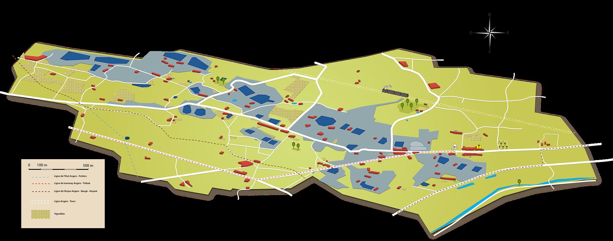 Map Of Poitiers%0A Carte du tissus paysager de Tr  laz   au XIX  me et XX  me si  cles