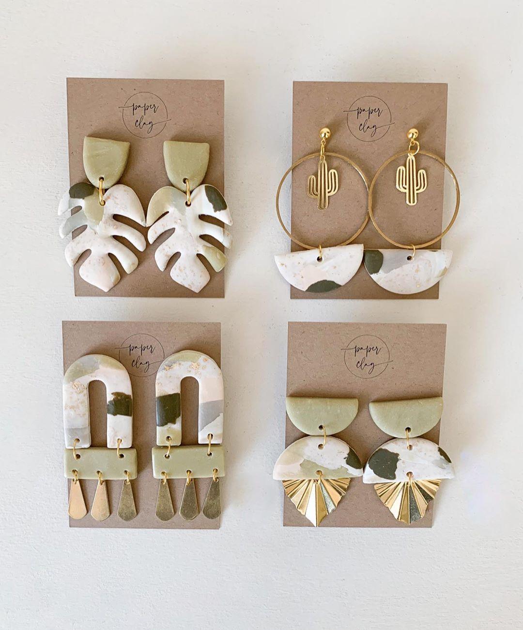 Handmade Earrings Spring Theme Clay Earrings Polymer Clay Jewelry