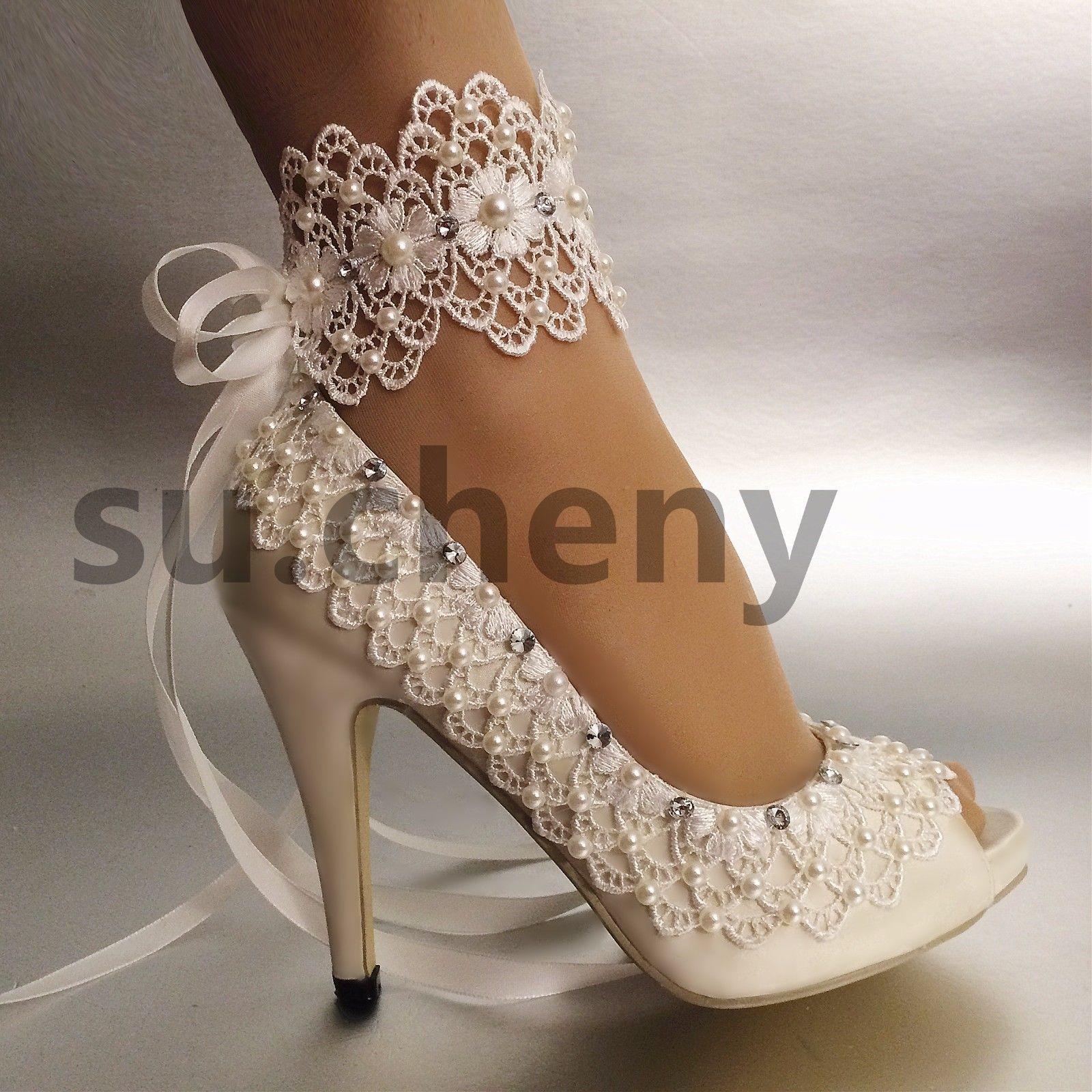 Su Cheny Open Toe 3 4 Heel Satin White Ivory Lace Anklet Wedding Bridal Shoes Ebay Wedding Shoes Lace Italian Wedding Shoes Wedding Shoes Bride