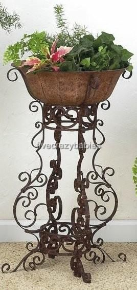 Details About Wrought Iron Scrollwork Floor Planter Plant Stand