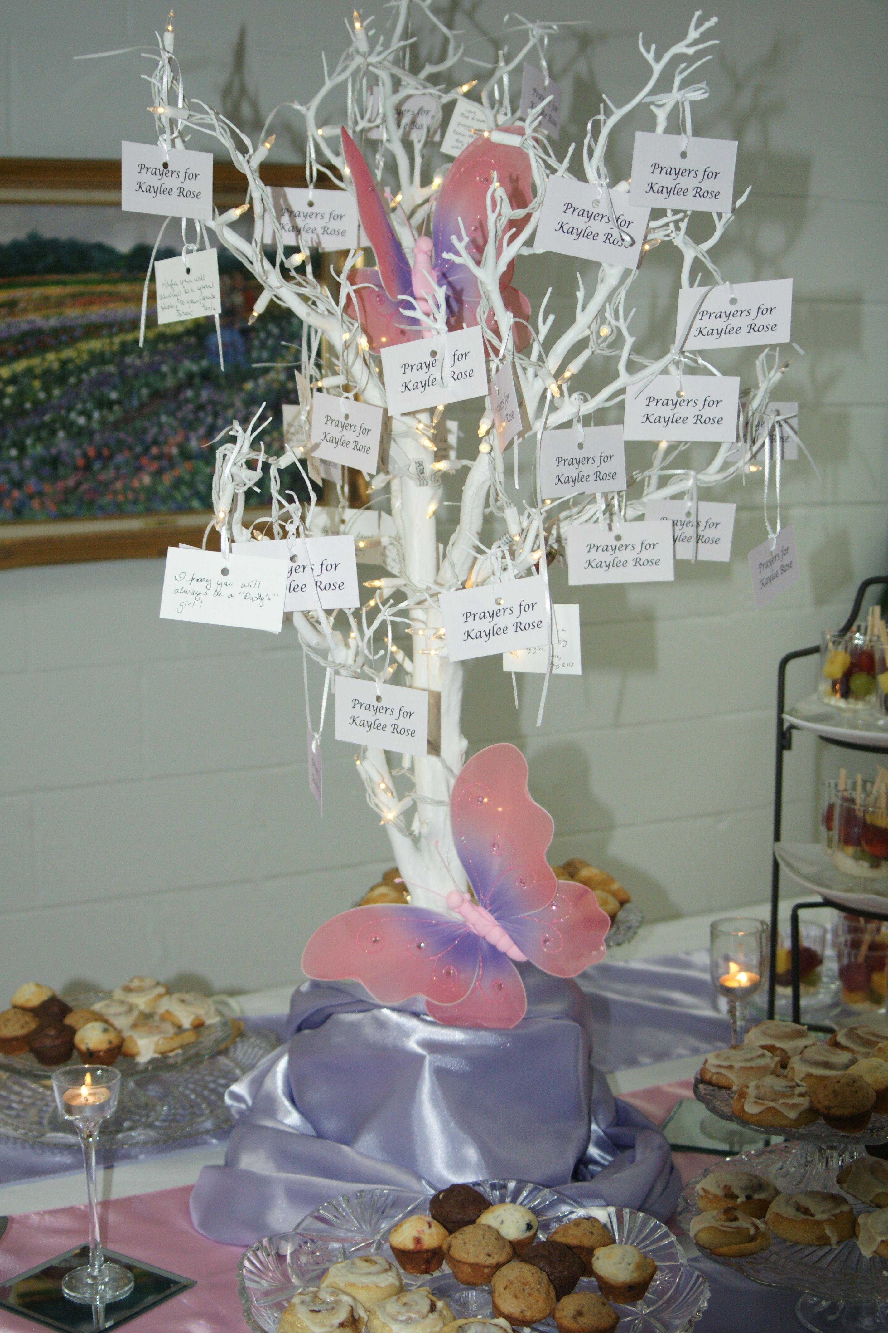 """Butterfly theme Baby Shower """"prayer"""" tree for baby Kaylee"""