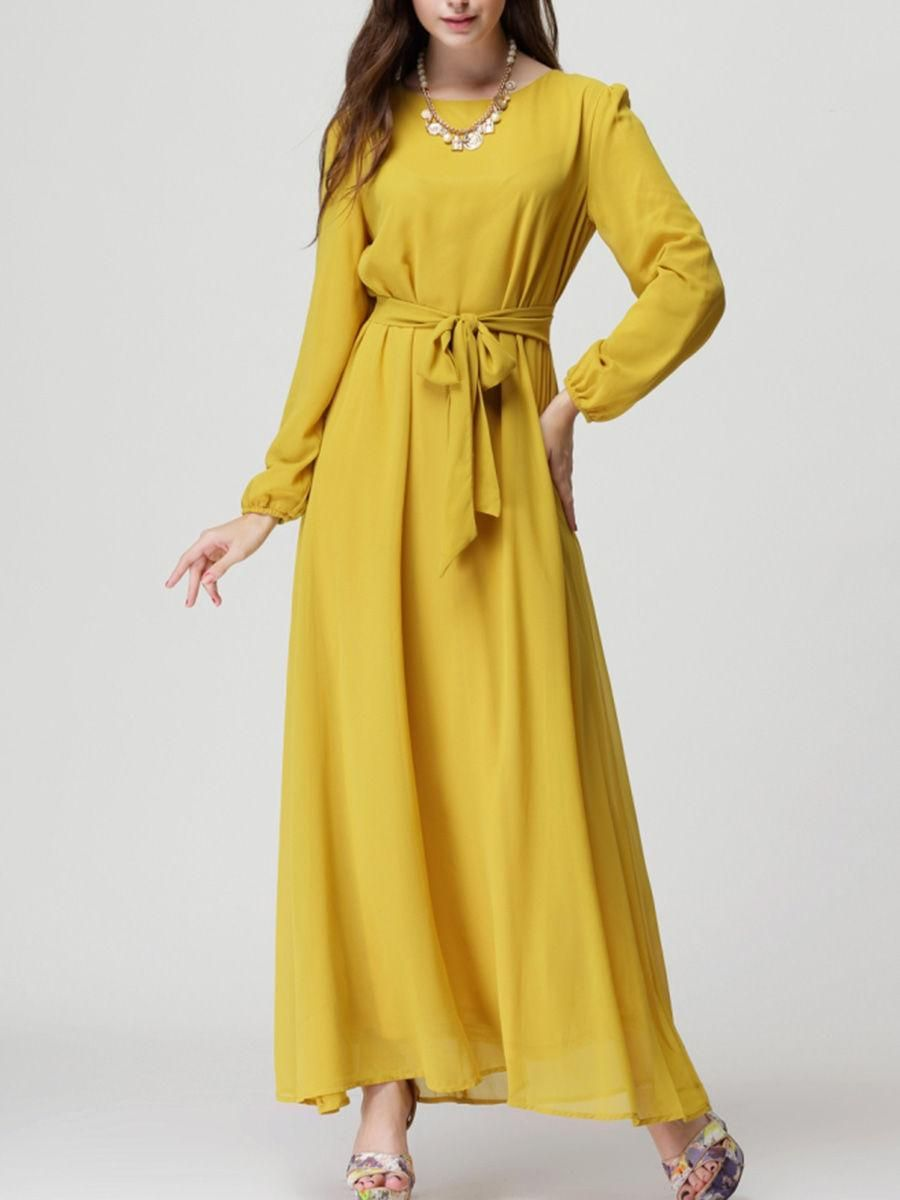 Fashionmia fashionmia round neck bowknot plain chiffon maxi dress