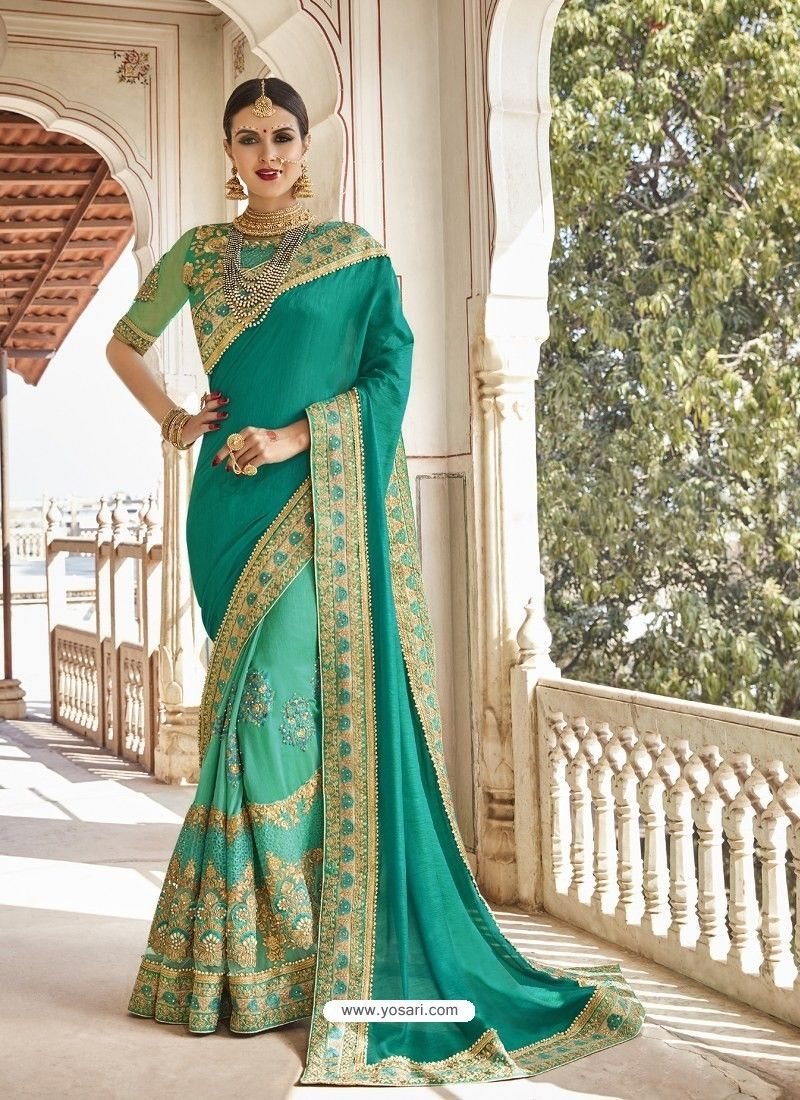 f5bf15d0f5555b Aqua Mint Georgette And Net Heavy Embroidered Party Wear Saree in ...