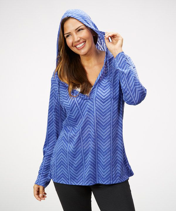 Look at this Blue Chevron Hoodie - Plus on #zulily today!