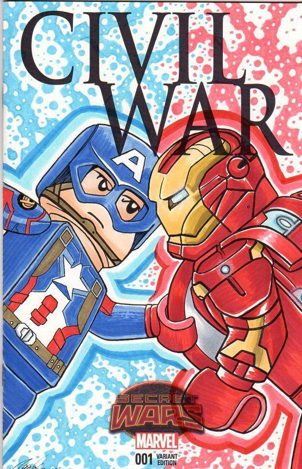 Civil War 001 Lego Captain America Vs Iron Man Cover Art By