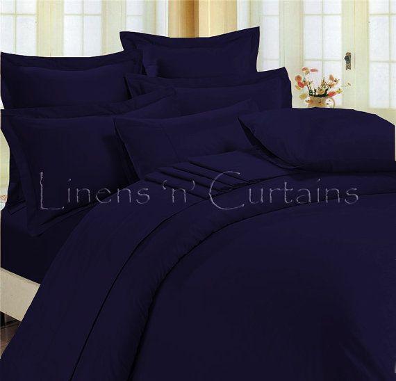 Navy Blue Duvet Cover Set 3 Pc Egyptian Cotton Bedding 1000 Thread Count In All Sizes Royal Blue Bedrooms Blue Comforter Bedroom Blue Duvet