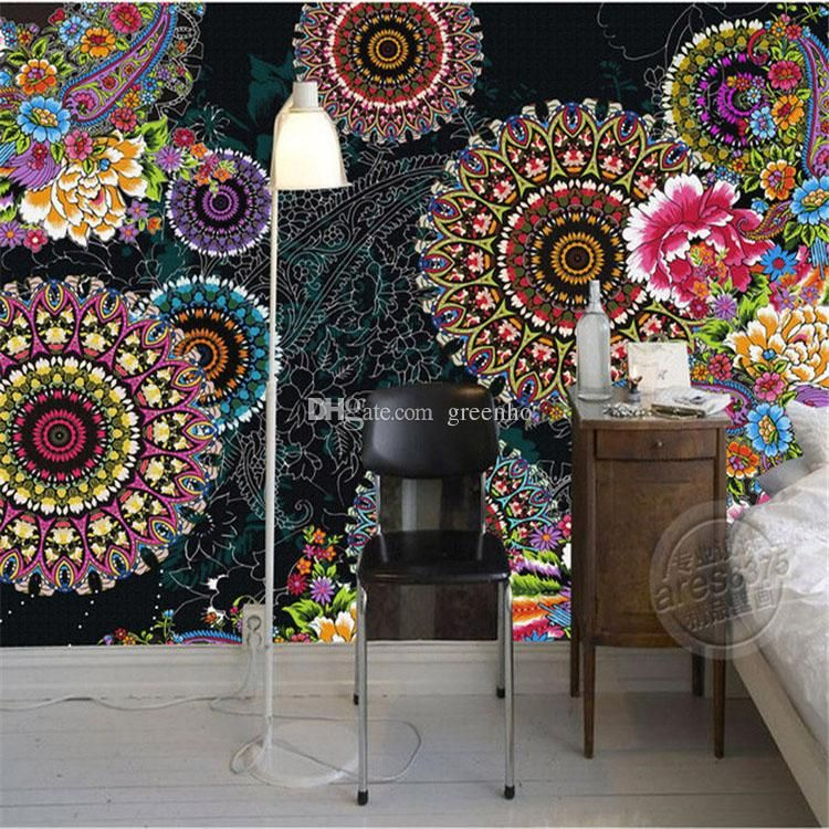 Charming Paisley Pattern Flowers Wallpaper 3d Photo Wallpaper Custom Mural  Painting Large Wall Art Room Decor Kidu0027S Room Bedroom Study Room Photo For  ...